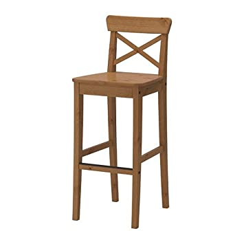 Fabulous Ikea Ingolf Bar Stool With Backrest Antique Stain 74 Cm Inzonedesignstudio Interior Chair Design Inzonedesignstudiocom