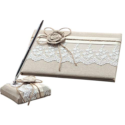 KateMelon Wedding Accessories Lace and Rustic Guest Book and Pen Set ()