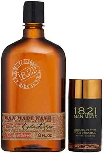 18.21 Man Made 3-in-1 Shampoo, Conditioner, Body Wash and Deodorant Gift Set, Sweet Tobacco, 18 oz. - Premium, Scented All-in-1 Body Care Set for Men to Hydrate, Condition - Multipurpose Shower Kit