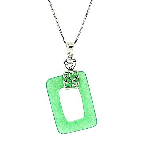 (The Olivia Collection Sterling Silver Jade Rectangle Pendant on 18 Inch Chain)