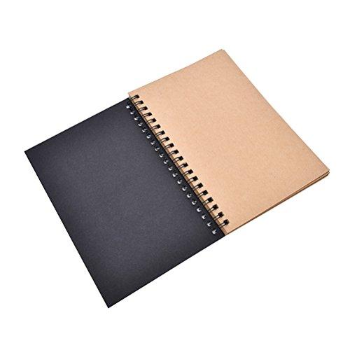 TUANTUAN 1 Pcs Spiral Bound Coil Sketch Book Blank Notebook Retro Kraft Sketching Paper ()
