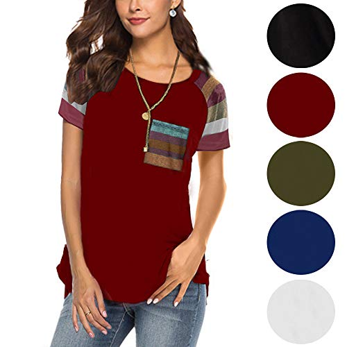 (Short Sleeve Tunics for Womens T Shirts Blouse Tops Round Neck Loose Wine Red 2XL)