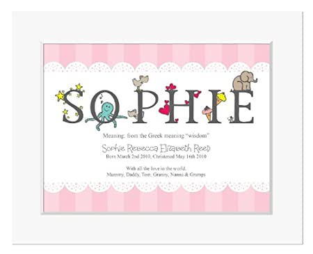 Personalised alphabet meaning of name print for girls new baby personalised alphabet meaning of name print for girls new baby gifts christening gifts for negle Choice Image