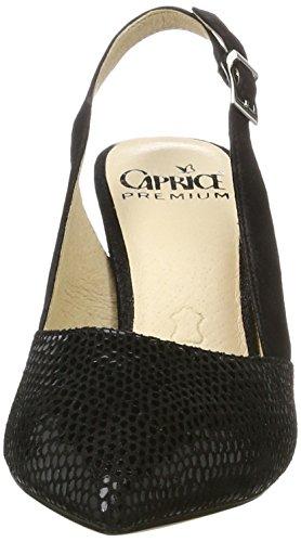 Caprice 29604, Sandalias con Cuña para Mujer Negro (Black Rept Com)