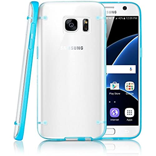 GEARONIC TM Slim Transparent Crystal Clear Hard TPU Cover Luminous Glow in the Dark Case for Samsung Galaxy S7 edge - Blue Sales