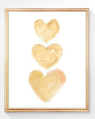 Gold Heart Art Print, 8x10, UNFRAMED, 14 Colors