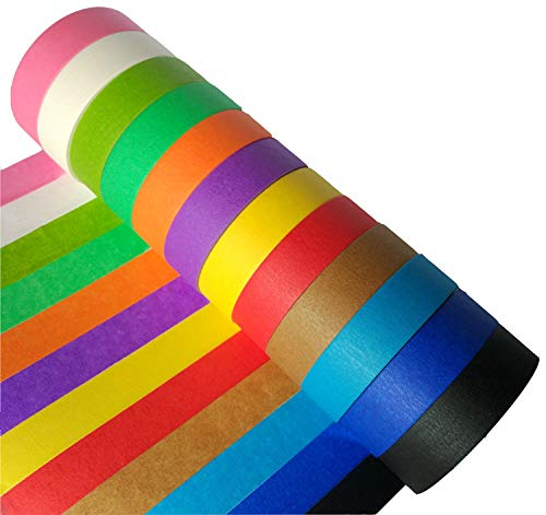 Craft Multi Colored Masking Tape 1 inch X 49' Rolls of Rainbow Color Label Maker Paper Tape Fun DIY Arts Supplies for Kids - 12 Pack