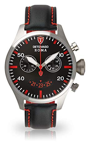 DETOMASO ROMA Men's Watch Chronograph Analog Quartz Black Leather Strap Black Dial DT1079-B