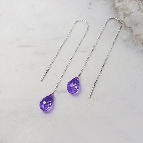 Amethyst Threader Earrings, 9K, 14K, 18K Gold Earrings, White Gold Threaders, Gold Chain Earrings, February Birthstone, Gemstone Birthstone Earrings /code: 0.001