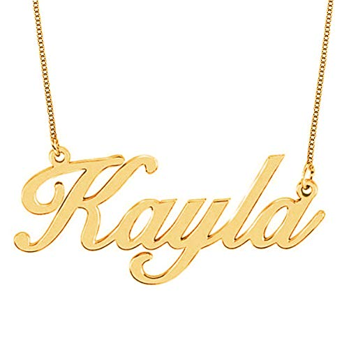 HACOOL 18k Rose Gold Plated Sterling Silver Name Necklace Custom Made with Any Name (Yellow Gold Plated Silver) ()