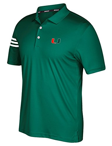 adidas NCAA Miami Hurricanes Adult Men Spring Game 3-Stripe Polo,Medium,Dark Green - Game Miami Hurricanes Green