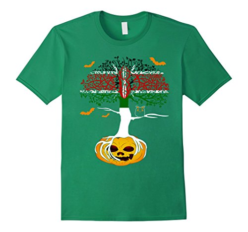 Mens Spooky Tree Hallowen Flag KENYA Crow Pumpkin TShirts Small Kelly Green
