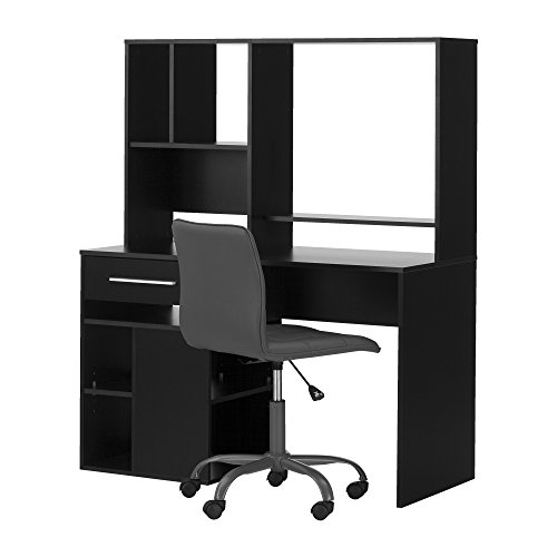 South Shore Annexe Pure Black Desk & Gray Office Chair with Quilted Seat by South Shore