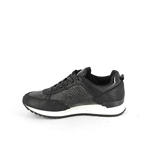 Cuir Travis Lacets Punk En Paillettes Sneakers Colmar Black Femme Noir Chaussures RTfq4zP