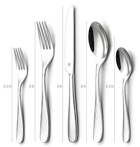 DANIALLI 30-Piece Flatware Set For 6, Modern Hammered Design Silverware Set, 18 10 Stainless Steel Utensils, Include Knife/Fork/Spoon, Mirror Polished Set of Cutlery, Dishwasher Safe by D DANIALLI (Image #2)
