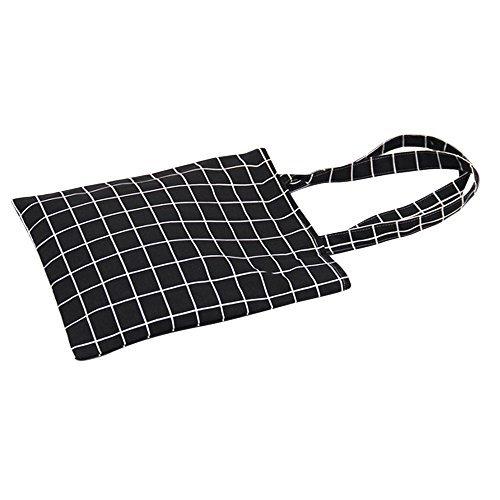 Caixia Women's Cotton Plaid Print Canvas Tote Shopping Bag (black-zip) ()