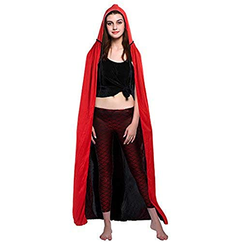 (Suroomy Long Cloak Reversible Christmas Cloak Hooded Vampire Witches Party Cape Costume)