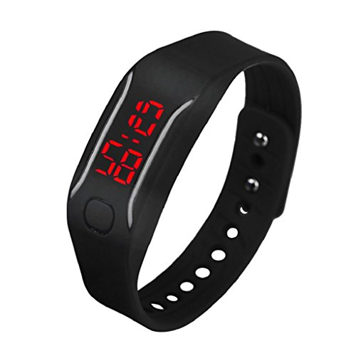 Digital Sport Watch Hosamtel Mens Womens Silicone LED Date Bracelet Wrist Watch (Black)