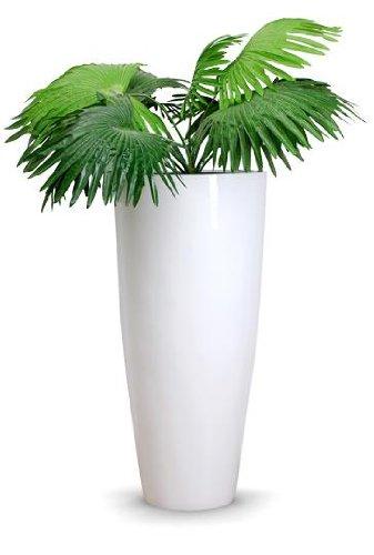 Exklusiver großer Blumenkübel Fiberglas City 100 cm Weiß Hochglanz ...