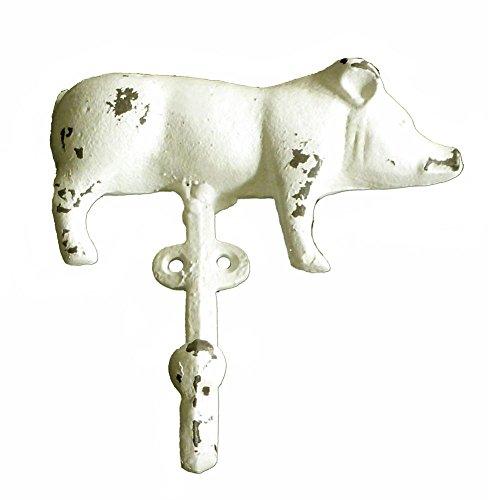 Cast Iron Farmhouse - Cast Iron Farmhouse Pig Wall Hook, White