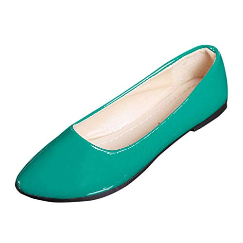 Hunauoo Hot Flats Sandals for Women Leisure Colorful Pointed Toe Slip On Flat Shoes Sandals Breathable Loafer Blue