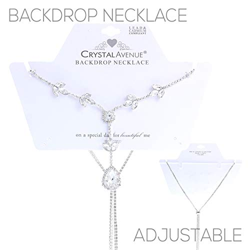 Rosemarie Collections Women's Elegant Crystal Rhinestone Adjustable Slide Backdrop Style Bridal Necklace (Silver Tone Marquis Leaf)