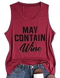 NANYUAYA Women May Contain Wine Letter Print Tank Tops Casual Sleeveless T-Shirt Tees