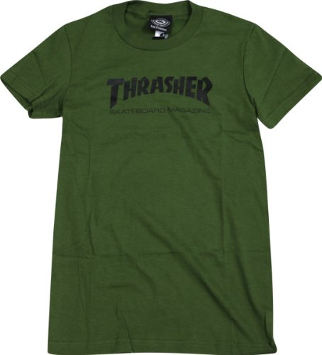 baceb4779520 Image Unavailable. Image not available for. Color  Thrasher Skate Mag Logo  Girls T-Shirt  Large  Army