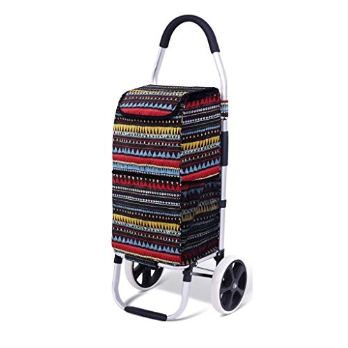 LHOME Shopping Cart Folding Portable Climbing Stairs Trolley Trailer Aluminum Alloy Rod Home Shopping Cart Small Cart Black (Color : T2, Size : - Cart Bag T2