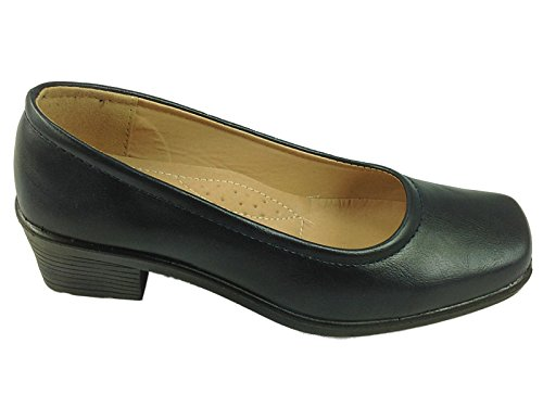 Ladies DrLightfoot Black Faux Leather Smart Loafer Casual Office Work School Shoes 8301:Navy PU zyC6dlZ6m3