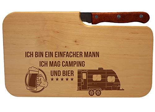 41DmIC2FbXL Beschdstoff/Schneidebrett mit Messer/Camping und Bier/Größe 26 x 15 x 12 cm Wohnwagen Motiv