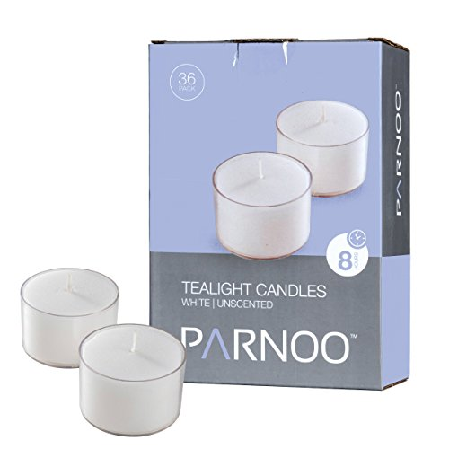 (Set of 36 White Tealight Candles with Clear Cup Burn 8 Hour, Unscented, in a Box)