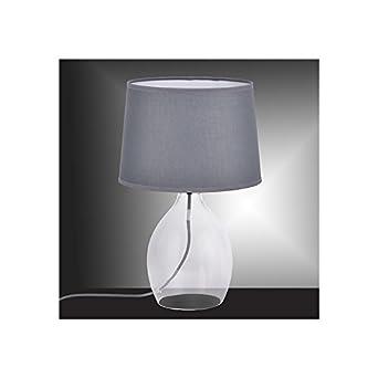 Lampe En Verre Transparent Avec Pied Et Abat Jour Gris Coda