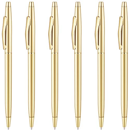 (Unibene Slim Metallic Retractable Ballpoint Pens - Gold, Nice Gift for Business Office Students Teachers Wedding Christmas, Medium Point(1 mm) 6 Pack-Black ink )