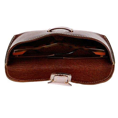 ZLYC Unisex Handmade Vegetable Tanned Leather Hard Eyeglass Case Sunglasses Holder (Dark Red)