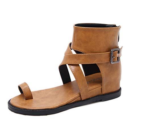 Cintura Scarpe della Stile High Pendenza Estate Colore Comodi con in Top Dimensioni Romano Brown Fibbia 38 Sandali Fw0nRq