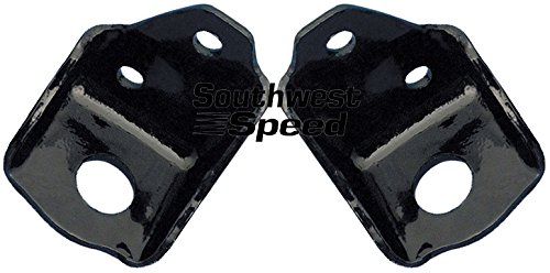 NEW 55-57 CHEVY FRONT ENGINE MOUNTING BRACKETS FOR SBC V-8 ENGINES, BLACK POWDER COATED, 1955 1956 1957 TRI-5 150 210 BEL AIR DELRAY NOMAD SEDAN DELIVERY, SMALL BLOCK CHEVY