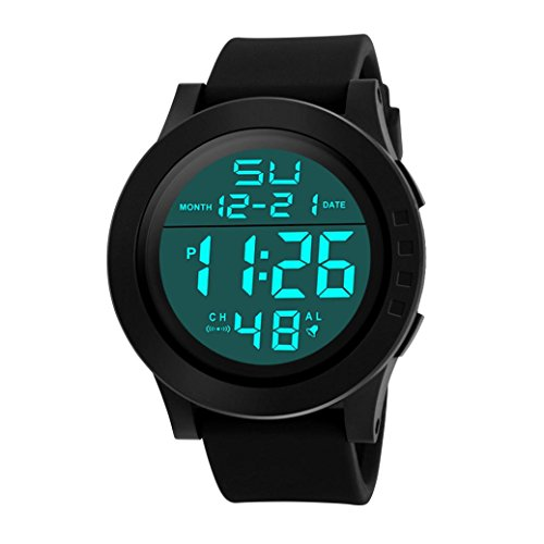 Sports Watch--Fashion Men's LED Waterproof Digital Quartz Military Luxury Sport Date Watches (Black) (Black Date Pocket Watch)