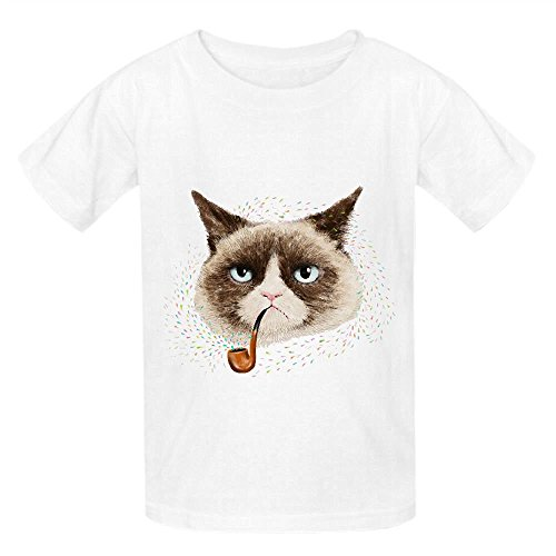[grumpy cat Boys' Crew Neck Customized Tee White] (Minions Movie Minion Hooded Tank Dress)