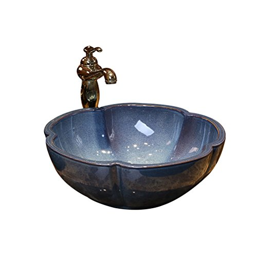 Teng Peng- Bathroom Sink Petal Retro Art Above Counter Basin Ceramic Washbasin Simple Antique Washbasin Washbasin, 40x15cm Modern wash Basin