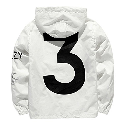 Front Pocket Zip Hoodie - Cimno Men's Fashion Lightweight Hoodie Zip-up Letter Windbreaker Jacket White L