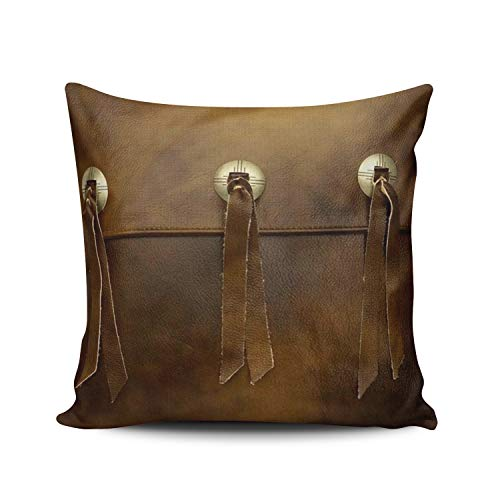 WEINIYA Home Decoration Throw Pillow Case 20X20 Inch Faux Leather Fringe Buckle Smoked Brown Square Custom Pillowcase Cushion Cover Double Sided Printed (Set of 1)