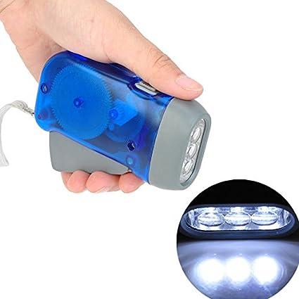 White, Blue : NEW Hand Crank Battery-Free Flashlight Camping