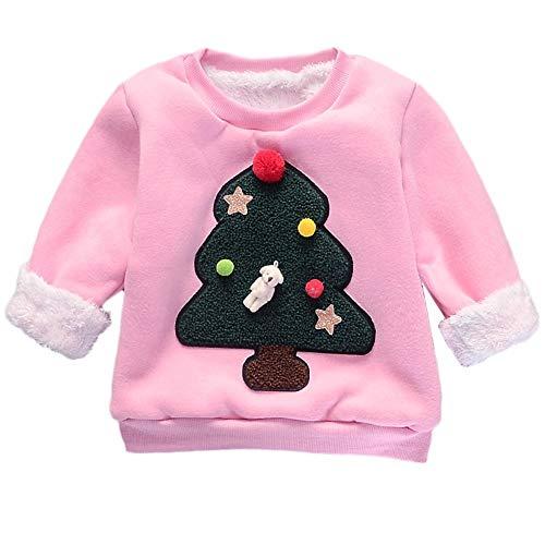 3c59816f88e09 赤ちゃん ベビー服 長袖 Tシャツ トップ セータープルオーバー 子供 漫画 クリスマスツリー セーター トップベビー服
