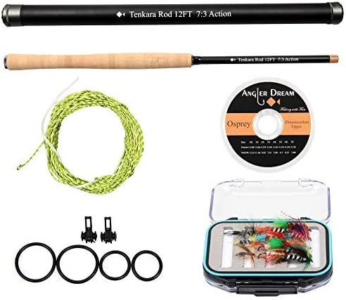 ANGLER DREAM 12 13FT Tenkara Rod Kit 30T Carbon Fiber Telescopic Fly Fishing Rod Combo with Furled Line Flies