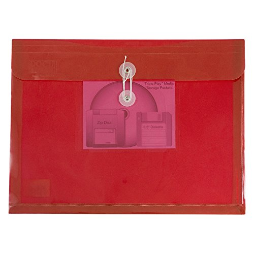 Button Booklet Envelope (JAM Paper Plastic Booklet Envelope with CD Pocket and Button & String Closure - Letter Size - 9 3/4