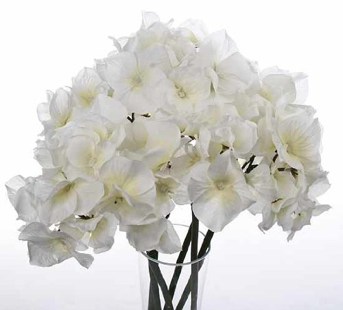 "14"" Tall Artificial White Silk Hydrangea Flower Bouquet with 6 Stems"