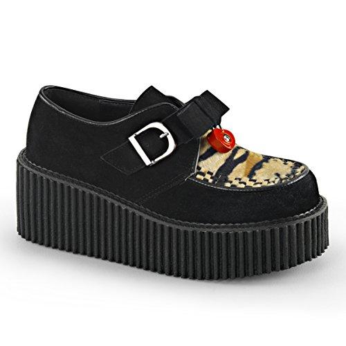 Demonia Womens CREEPER-213 Creepers Boots, Blk Vegan Suede-Tiger Print Faux Fur, Size - 9 Demonia Fur Boots