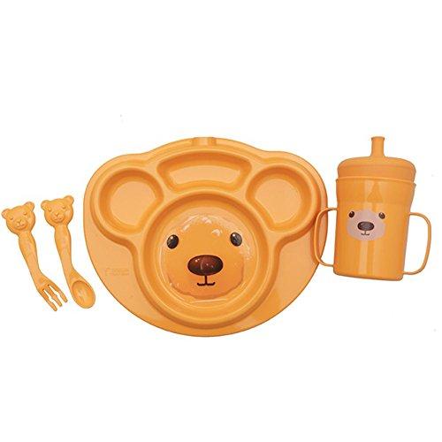 [TESEUM] Teddy Bear No bio toxin and no BPA Safe for Kids Corn Dish Trays set with Mug and spoon&fork endocrine disruptors Free (Orange) (Orange)