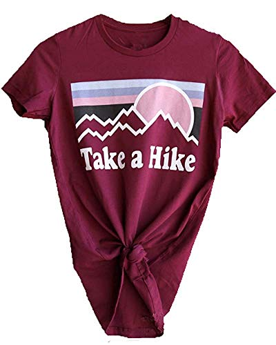 Mage Ella Womens Take A Hike Printed Short Sleeves T-Shirt Casual Camping Hiking Graphic Tee Tops (M, Wine Red)
